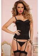 Knock Out Corset W/ Thong-black-s